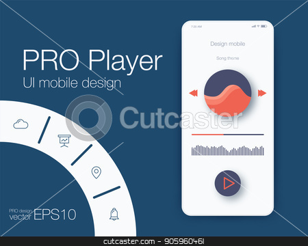 UX audio player templates stock vector clipart, UI audio player templates templates in vector with design elements by Amelisk