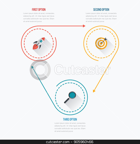 Infographics template 3 options with circle stock vector clipart, Infographics template 3 options with circle. Data and information visualization. Dynamic infographics stylish geometric. element for design business invitations, gift cards, flyers and brochures by Amelisk
