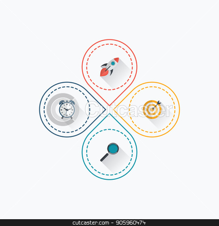 Infographics template 4 options with circle stock vector clipart, Infographics template 4 options with circle. Data and information visualization. Dynamic infographics stylish geometric. element for design business invitations, gift cards, flyers and brochures by Amelisk