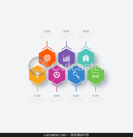 Vector illustration infographics 7 options stock vector clipart, Vector illustration infographics 7 options. Data and information visualization. Dynamic infographics stylish geometric. element for design business invitations, gift cards, flyers and brochures by Amelisk
