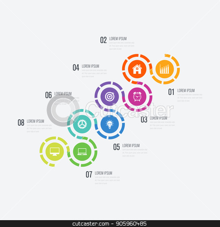 Vector illustration infographics 8 options stock vector clipart, Vector illustration infographics 8 options. Data and information visualization. Dynamic infographics stylish geometric. element for design business invitations, gift cards, flyers and brochures by Amelisk