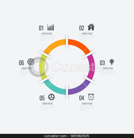 Infographics template 6 options with circle stock vector clipart, Infographics template 6 options with circle. Data and information visualization. Dynamic infographics stylish geometric. element for design business invitations, gift cards, flyers and brochures by Amelisk
