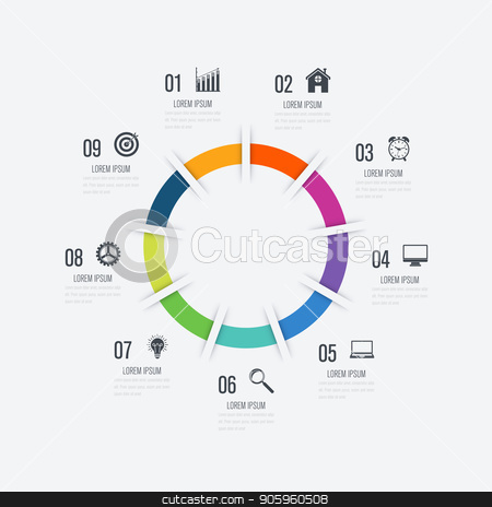 Infographics template 9 options with circle stock vector clipart, Infographics template 9 options with circle. Data and information visualization. Dynamic infographics stylish geometric. element for design business invitations, gift cards, flyers and brochures by Amelisk