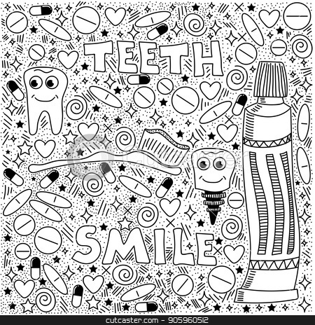 Doodle Medical Pattern stock vector clipart, Doodle Medical Pattern Isolated on White Background by valeo5