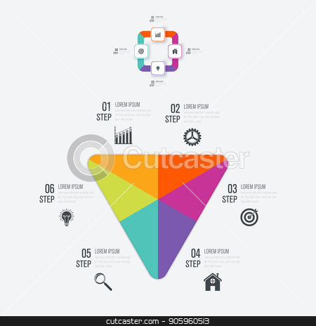 Vector illustration infographics 6 options stock vector clipart, Vector illustration infographics 6 options. Data and information visualization. Dynamic infographics stylish geometric. element for design business invitations, gift cards, flyers and brochures by Amelisk