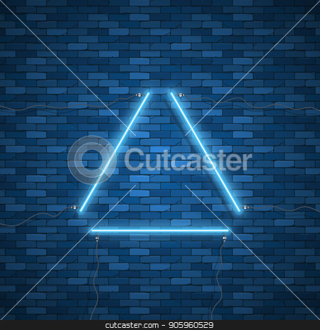 Triangle Border with Light Effects stock vector clipart, Blue neon triangle background. Triangle Border with Light Effects. Vector illustration for your business presentations. by Amelisk