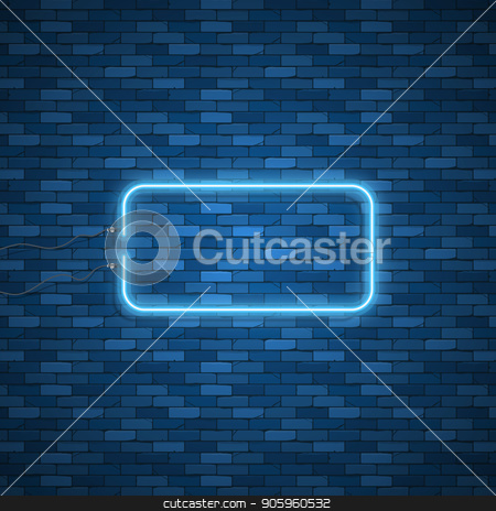 Blue abstract neon square shape stock vector clipart, Blue abstract neon square shape. Glowing vintage or futuristic frame. Simple electric symbol for advertisement or other design project. Vector illustration. by Amelisk