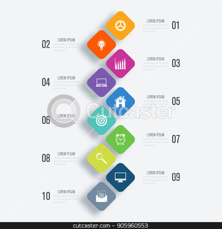 Vector illustration infographics 10 options stock vector clipart, Vector illustration infographics 10 options. Data and information visualization. Dynamic infographics stylish geometric. element for design business invitations, gift cards, flyers and brochures by Amelisk