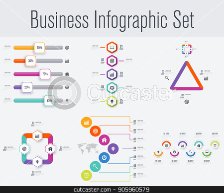 Set with infographics stock vector clipart, Set with infographics. Data and information visualization. Template. Stock vector. Dynamic infographics stylish geometric. element for design business invitations, gift cards, flyers and brochures by Amelisk