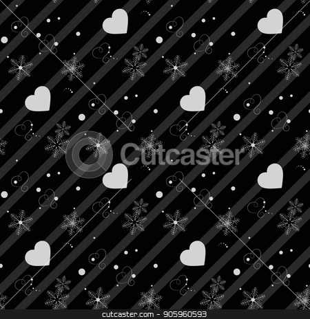 Abstract Heart and snowflakes Black line vector seamless pattern eps10 stock vector clipart, Abstract Heart and snowflakes Black line vector seamless pattern eps 10 by elnurbabayev