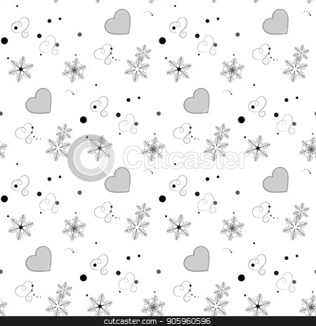 Winter seamless pattern with hearts and snowflakes. Elegant white background. stock vector clipart, Winter seamless pattern with hearts and snowflakes. Elegant white background. eps10 by elnurbabayev