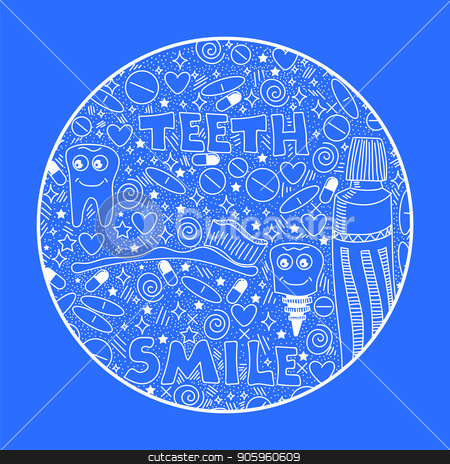 Doodle Medical Pattern stock vector clipart, Doodle Medical Pattern Isolated on Blue Background by valeo5