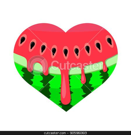Fresh Ripe Watermelon Icon stock vector clipart, Fresh Ripe Watermelon Icon Isolated on White Background by valeo5