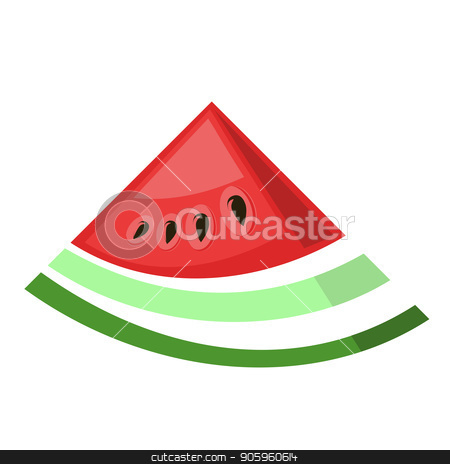 Fresh Ripe Watermelon Icon stock vector clipart, Fresh Ripe Watermelon Icon Isolated on White Background by valeo5