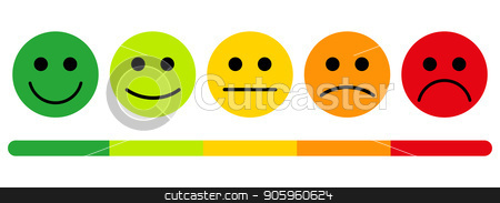 emotions with smiles. stock vector clipart, Customer satisfaction rating. The scale of emotions with smiles. by Evgeniy Dzyuba