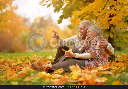 happy Senior couple in autumn park sitting  stock photo, Portrait of happy senior couple in autumn park sitting by Ruslan Huzau