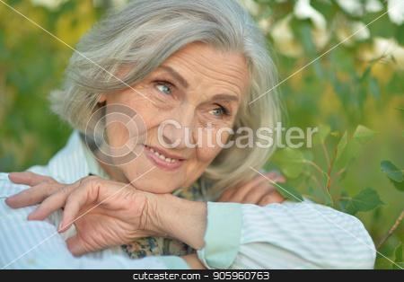 Happy elderly woman stock photo, Happy elderly woman posing  in summer park by Ruslan Huzau