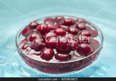 Washed cherries in a bowl with water stock photo, Washed ripe cherries in a bowl of water by Galina Bondarenko