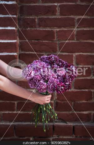beauty wedding bouquet stock photo, Female hands holding beauty wedding bouquet by olinchuk