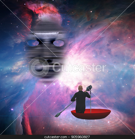 Traveling in red umbrella stock photo, Business man in red umbrella floating in space by Bruce Rolff