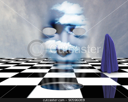 Face from another dimension stock photo, Surrealism. Figure of human covered by purple cloth stands on a chessboard. Mask with clouds. 3D rendering by Bruce Rolff