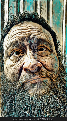 Bearded man stock photo, Emotions. Bearded man with puzzled look. by Bruce Rolff