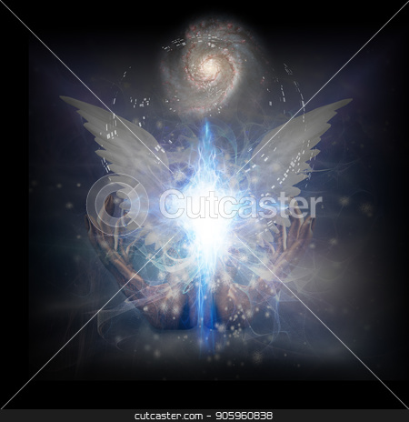 Moment of creation stock photo, Surreal digital art. Bright star with white angel's wings. Hands of creator. Energy in shape of cross. Spiral galaxy in endless universe. by Bruce Rolff