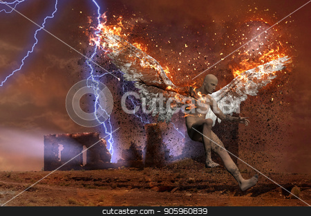 Fallen Angel stock photo, Surreal digital art. Lightning strikes spooky ruins. Naked man with burning wings symbolizes fallen angel. by Bruce Rolff