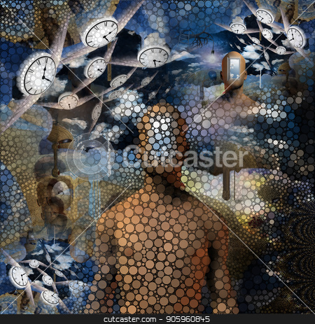 Flow of Time stock photo, Abstract painting. Naked man with opened door to another world instead of his face. Other dimensions. Winged clocks represents flow of time by Bruce Rolff