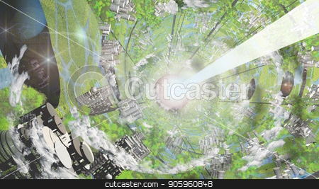 Oneil Cylinder stock photo, Multi Generational Colony Space Craft Interior by Bruce Rolff