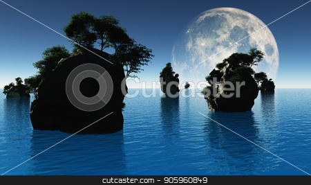 Silent Islands stock photo, Small islands with green trees. Big moon rising. 3D rendering by Bruce Rolff