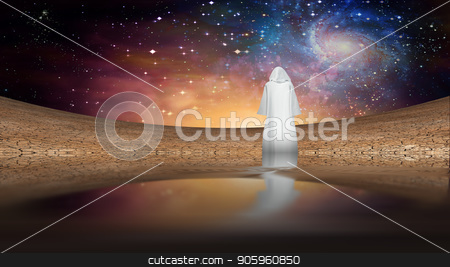 White Monk stock photo, Desert and galactic sky with wandering cloaked figure by Bruce Rolff