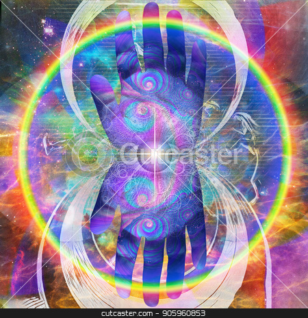 Omnipresent Eye stock photo, God's hand. Omnipresent Eye. Mirrored round fractal with figure of running man on the background by Bruce Rolff