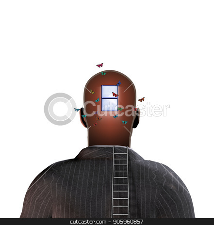 Man with hopes and open mind stock photo, Man with window in head, ladder and butterflies by Bruce Rolff