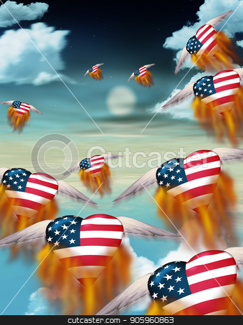 Flaming hearts stock photo, Winged flaming hearts in USA national colors fly into the sky by Bruce Rolff