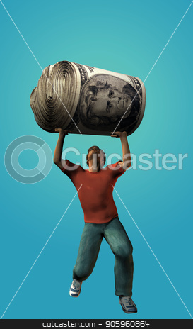 Wealth Pressure stock photo, Man holds money roll by Bruce Rolff