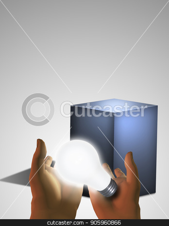 Glowing light bulb in human hands stock photo, Gray pedestal and glowing light bulb in human hands by Bruce Rolff
