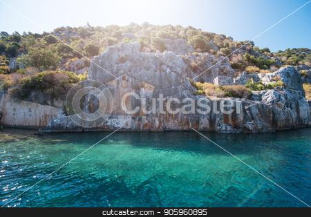 ancient city on the Kekova stock photo, Sea, near ruins of the ancient city on the Kekova island, Turkey by olinchuk