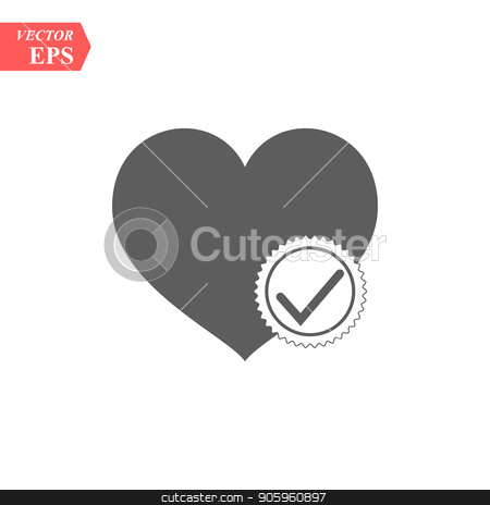 Heart with check icon in flat style. Vector illustration. stock vector clipart, Heart with check icon in flat style. Vector illustration. eps10 by elnurbabayev