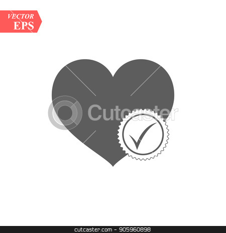 Heart sign web icon with check mark symbol. Vector illustration design element eps10 stock vector clipart, Heart sign web icon with check mark symbol. Vector illustration design element eps 10 by elnurbabayev