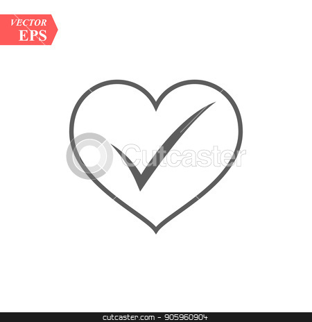 check mark in heart, vector illustration isolated on white stock vector clipart, check mark in heart, vector illustration isolated on white eps10 by elnurbabayev