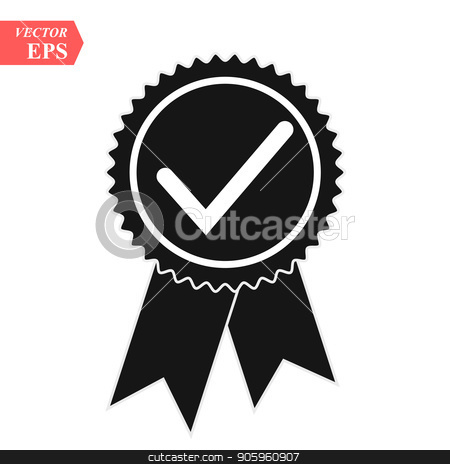 Illustration of an isolated vector badge icon with a check mark stock vector clipart, Illustration of an isolated vector badge icon with a check mark eps10 by elnurbabayev