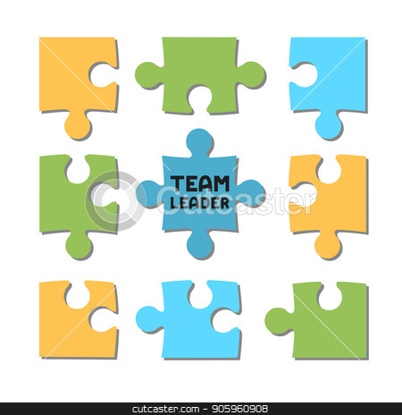 Puzzle team, team leader, manager, project, vector stock vector clipart, Puzzle team, team leader, manager, project, vector by Iryna Chaus