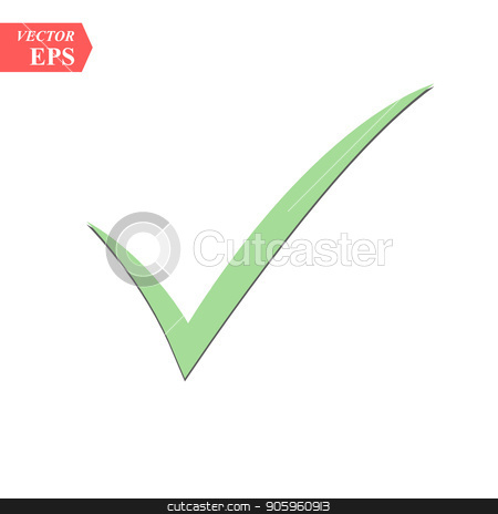 Green check mark with shadow isolated on white background stock vector clipart, Green check mark with shadow isolated on white background eps10 by elnurbabayev