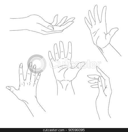 Set of hand drawn arms, vector illustration stock vector clipart, Set of hand drawn arms, vector illustration by Iryna Chaus