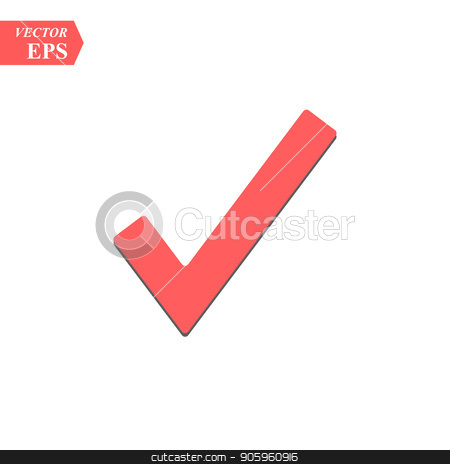 Red check mark icon  Tick symbol in red color, vector