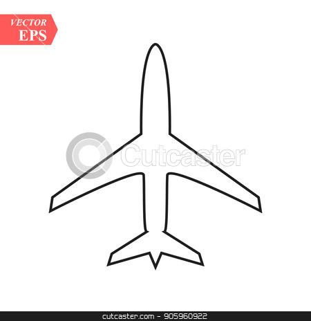 plane line icon on white background eps10 stock vector clipart, plane line icon on white background eps 10 by elnurbabayev