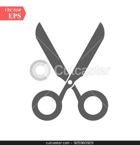 Scissors symbol isolated on white background stock vector clipart, Scissors symbol isolated on white background eps10 by elnurbabayev