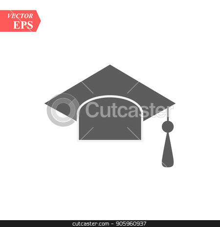 Graduation hat vector icon isolated on white background stock vector clipart, Graduation hat vector icon isolated on white background eps10 by elnurbabayev
