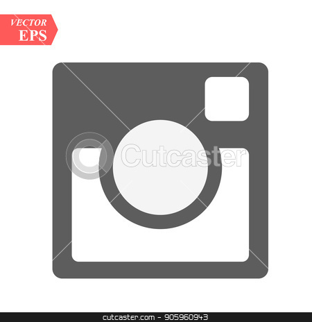 Hipster photo icon. Camera icon. Photo camera pictogram. Black background stock vector clipart, Hipster photo icon. Camera icon. Photo camera pictogram. Black background eps10 by elnurbabayev
